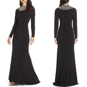 Ieena For MacDuggal Beaded Collar Long Sleeve Gown